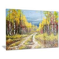 Designart ゴールデンオータム風景 メタルウォールアート MT6532 28x12 グリーン MT6532-28-12