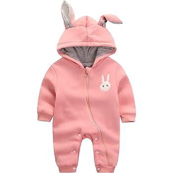 エルフ ベビー(Fairy Baby) 赤ちゃん着ぐるみ カバーオール ロンパース フード付き うさぎ耳 長袖防寒着 80cm ピンク