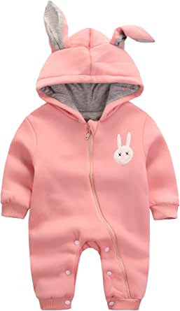 エルフ ベビー(Fairy Baby)赤ちゃん着ぐるみ カバーオール ロンパース フード付き うさぎ耳 長袖防寒着 80cm ピンク