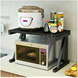 Black Two 2 Tier Kitchen Shelf Microwave Oven Rack Stand Wooden Condiment Storage Cabinet