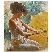 ゴシレ [Gosear] デジタル DIY の女の子パターン油彩画リネンキャンバス壁アールデコ 40x50 cm にフィギュアを着色