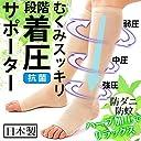 【日本製】着圧スッキリひきしめサポーター(ハーブミント加工)ベージュ ハイソックス レディース靴下,ふくらはぎサポーター 着圧ソックス,段階着圧 足マッサージ(足のむくみ解消 グッズ 妊婦 エコノミークラス症候群 弾性 医療用 くつした 加圧) (ML)
