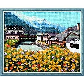 ルシアン フランスの風景 モンブランと麓の町並み 712