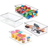 mDesign Plastic Toy Storage Bin with Hinged Lid - Kid/Child Playroom Organizer for Toys - Cars Dolls Baby Doll Clothes Puzzle
