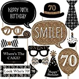 Adult 70th Birthday - Gold - Photo Booth Props Kit - 20 Count