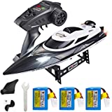 XFUNY HJ806 RC Boat 2.4GHz 35km/h Fast Portable Remote Control Speedboat with 3 Batteries Professional RC Boat 200m Control D