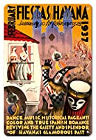 22cm x 30cmヴィンテージハワイアンティンサイン - 2月フィエスタ ハバナ、キューバ - 1937年1月30日から2月28日まで - ダンス、音楽、歴史のページェント - ビンテージな世界旅行のポスター によって作成された マリオ カレーニョ c.1937
