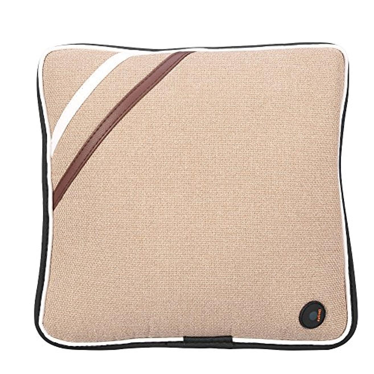 ピクニックボックスパターン電気マッサージの枕、旅行車の家、セリウム/FDA/RoHS/LVDの証明のためのUSBの再充電可能で柔らかい綿の首の背部クッションのマッサージャー(Linen Beige)
