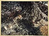 アーサー・ラッカム「真夏の夜の夢」 インテリア アート 絵画 プリント 額装作品 フレーム:木製(茶) サイズ:M (306mm X 397mm)
