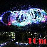 JX-SHOPPU LED100個搭載 ソーラーLEDチューブ 夜になると自動点灯ガーデンイルミネーションライト10M (カラフル)
