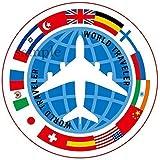 海外旅行ステッカー ワールドトラベラー 防水紙シール スーツケース・タブレットPC・スケボー・マイカーのドレスアップ・カスタマイズに