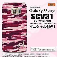 SCV31 スマホケース Galaxy S6 edge カバー ギャラクシー S6 エッジ イニシャル 迷彩B ピンクB nk-scv31-1163ini F