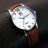 メンズ 男性 腕 時計 レザー 革 ベルト ビジネス ウォッチ シンプル スーツ 軽量 (ホワイト&ブラウン)