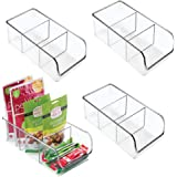 mDesign Plastic Food Packet Kitchen Storage Organizer Bin Caddy - Holds Spice Pouches, Dressing Mixes, Hot Chocolate, Tea, Su