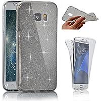 Samsung S6 Edge Plus、SevenPandaソフトケースフルカバー360度スパークリングキラキラ防止スクラッチハルカバー超薄透明カバー[衝撃吸収] Galaxy S6 Edge PlusカバーシェルケースSamsung Galaxy S6 Edge Plus用 - ブラック