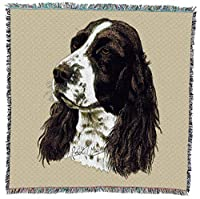 Pure Country Weavers - English Springer Spaniel Woven Throw Blanket with Fringe Cotton. USA Size 54x54 [並行輸入品]
