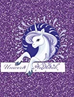 Unicorn Notebook: Fun Faux Sparkle Cover - Lined and Sketch Journal Pages For Unicorn Lovers  - Composition Notebook - Blue Festive Unicorn - Purple Cover