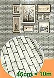 ShopXJ 壁紙 シールタイプ レンガ調 DIY かんたん貼付 剥がせる ウォールステッカー クロス インテリア リフォーム 防水 45cm×10m (ライトグレー)