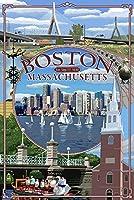 ボストン、マサチューセッツ州–モンタージュ 12 x 18 Signed Art Print LANT-43816-708