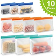 10 Packs Reusable Food Storage Bags - Extra Thick Ziplock Bag for Food Storage, Reusable Sandwichs Bags, Lunch Snack Bags, Make-up Travel Home Organization.