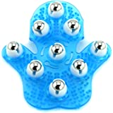 Palm Shaped Massage Glove Body Massager with 9 360-degree-roller Metal Roller Ball Beauty Body Care (Blue)