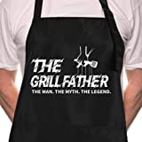 ZOORON Funny Black Chef Aprons for Men Adjustable BBQ Kitchen Cooking Aprons with Pocket Waterproof Oil Proof Father's Day/Bi
