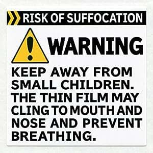 法令対応の窒息防止ワーニングシール 500枚セット【米アマゾン輸出時のFBAや海外発送に、子供や親へ危険を警告するワーニングシール RISK OF SUFFOCATION WARNING Label】