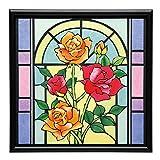 さくらほりきり 手作りキット さくらあーと 2色のバラのステンドグラス 額付 内寸12インチ
