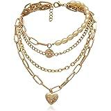 Ingemark Statement Cool Punk Chunky Chain Necklace for Women Girls Heart Shaped Photo Locket Pendant Layered Pearl Choker Nec