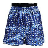 【第3弾】 OKI(オキ) タイシルク トランクス パンツ メンズ セット ゾウ柄 Thai Silk 通気性良好 象さんパンツ (XL(日本Lサイズ相当), ブルー)