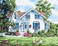 Wowdecor 数字油絵 数字キット40×50cm - 家の外で遊ぶ女の子 - DIY ぬりえ 塗り絵 絵画 趣味 インテリア (フレームレス)