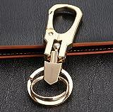 ZooooM ダブル リング キーホルダー キーリング カラビナ フック ファッション デザイン メンズ 男性 車 鍵 キー ( ゴールド ) ZM-KEY639-gd