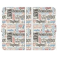 Ruuu AQUOS R compact SHV41 SH-M06 手帳型 スマートフォン スマホ ケース カバー ロンドン タイポグラフィ パターン イギリス イングランド ロゴ 文字 英文 王冠 ハート 国旗 ユニオンジャック