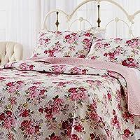 君のホームカザリ ベッドカバー 3点セット キルト ベッドスプレッド ソファーカバー ケイーントキング用 100%綿  ローズ(U)