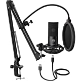 FIFINE Studio Condenser USB Microphone Computer PC Microphone Kit with Adjustable Scissor Arm Stand Shock Mount for Instrumen