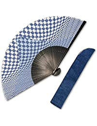 ギフトにおススメ 扇子 男性用 布扇子 市松 富士山  差し袋セット
