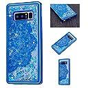 CUSKING Galaxy Note 8ケース アニメ かわいい きらきら カバー 流れる 液体 保護ケース Samsung ギャラクシーノート8 対応 衝撃防止 衝撃吸収 保護ケース - ブルー