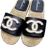 CHANEL NY CHANEL Pearl Sandals シャネルコスメ クリア パール オープントゥ サンダル 黒 ココマーク スリッパ ビジューサンダル CHANEL ミュール