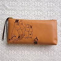 MOOMIN ムーミン 刺繍合皮ペンポーチ / ブラウン