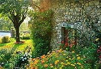 春の風景 ガーデンヤード 滝の背景