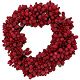 6-inch Beaded Berry Wreath Candlering Candle Ring - Winterberry Red