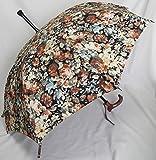 ステッキとしてご使用になれるステッキ傘(つえかさ)油絵調花柄 手開き 晴雨兼用 黒地黄柄