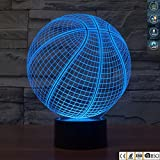3D Illusion Lamp Gawell Basketball Visual Effect Night Light 7 Colors Glows With Smart Touch Switch USB Cable Creative Gift Toys Decorations [並行輸入品]