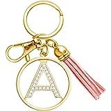 XGALBLA Letter Keychain with Tassel for Women Purse Wallet Handbags Charms Crystal Alphabet Letter Pendant Key Ring
