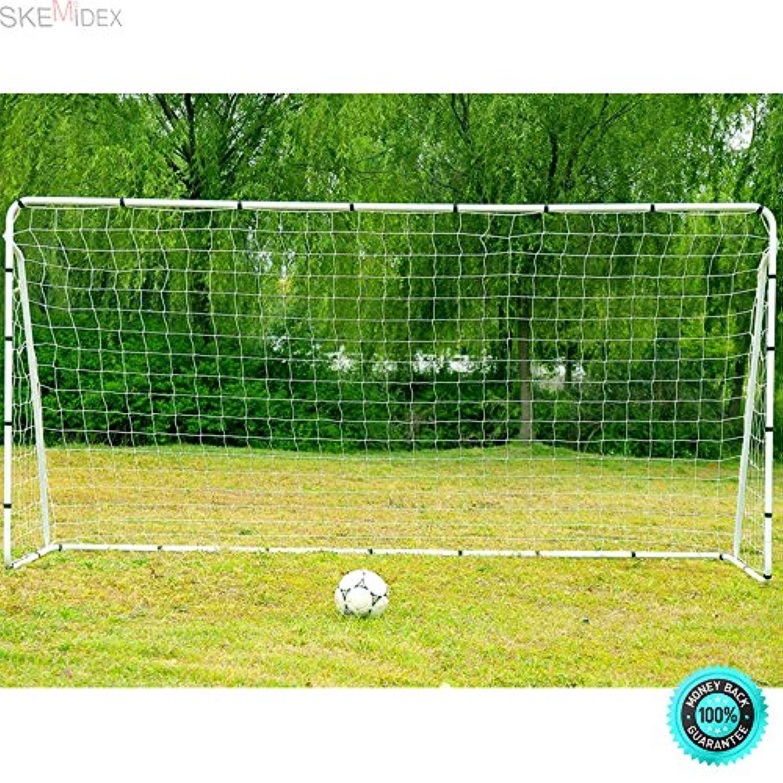 skemidex ---ポータブルサッカーゴールスチールフレーム12 ' x 6 ' Football Netクイックボールスポーツトレーニング。Ideal For使用on theビーチ、コミュニティPlayground、学校、など耐久性パウダーコーティングスチールフレーム