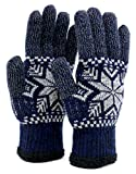 (ジーンズショップ マルカワ) Jeans shop MARUKAWA 手袋 メンズ スマホ対応 スマートフォン対応 ニット 雪 柄 2color Free ネイビー