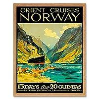 Travel Orient Cruises Norway Fjord Ship London UK Vintage Art Print Framed Poster Wall Decor 12X16 Inch 旅行オリエントクルーズノルウェー船ロンドンイギリスビンテージポスター壁デコ