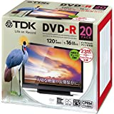 TDK 録画用DVD-R デジタル放送録画対応(CPRM) 1-16倍速 インクジェットプリンタ対応(ホワイト・ワイド) 20枚パック 5mmスリムケース DR120DPWC20UE