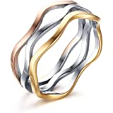 VNOX Womens Girls Stainless Steel Tri-Color Wave Band Ring for Wedding Promise Engagement