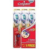 Colgate 360 Advanced Toothbrush, Medium, 3ct